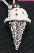 NWT JUICY COUTURE SILVER ICE CREAM CONE CHARM Bracelet Necklace YJRU3245
