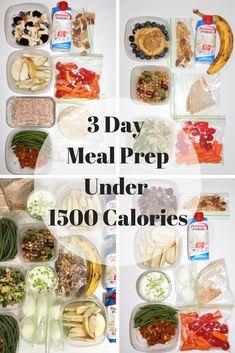 3 Day Meal Prep Under 1500 Calories – Meals 1600 Calorie Meal Plan, 1500 Calorie Diet, Keto Meal Plan, Healthy Meal Prep, Diet Meal Plans, Low Carb Diet, 500 Calorie Meals, Eating Healthy, 1200 Calories