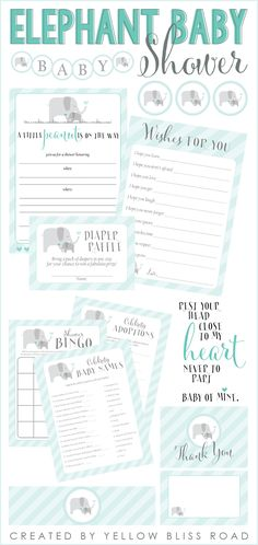 Elephant Themed Baby Shower with darling printables!