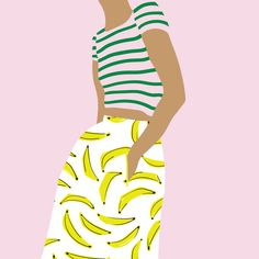 Fashion Illustration Patterns Girl with banana skirt - black lamb studio Art And Illustration, Fashion Illustration Sketches, Banana Skirt, Pop Art, Poster S, Fashion Art, Fashion Design, Fashion Drawings, Art Graphique