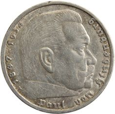1935 A Germany Paul von Hindenburg silver 5 mark coin www.numismaticland.co.uk