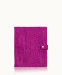 Magenta iPad Case | Embossed Python Leather | GiGi New York