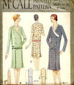 UNCUT Vintage 1920's McCALL Sewing Pattern 5621 -   Beautiful FLAPPER  Drop Waist Dress   -  Bust 36 * Downton Abbey
