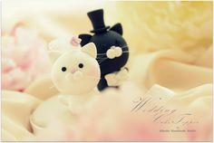 Precioso gato y kitty torta de bodas por kikuike en Etsy, $110.00