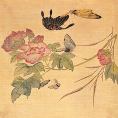 Korean painting of the last two millennia has undergone several influences, concerning the methods and motifs, in consonance with the reign. Korean Painting, Chinese Painting, Chinese Art, Botanical Art, Botanical Illustration, Colonial Art, Korean Art, Art Template, Jewish Art