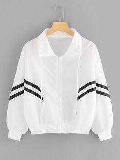 Shop Striped Tape Zip Up Jacket online. SHEIN offers Striped Tape Zip Up Jacket & more to fit your fashionable needs. Look Fashion, Fashion News, Fashion Outfits, Fashion Black, Fashion 2018, Windbreaker Jacket, Hooded Jacket, T Shirt Custom, Plus Size Coats