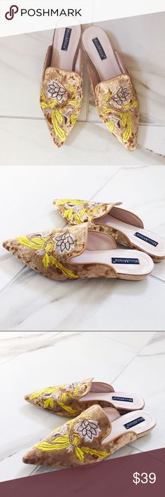 Gold embroidered floral mules Details to come Shoes Mules & Clogs