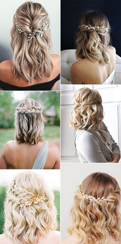 20 medium length wedding hairstyles for brides 2019 - EmmaLovesWeddings - medium . - 20 medium length wedding hairstyles for brides 2019 – EmmaLovesWeddings – medium length half up - Wedding Hair Side, Wedding Hair And Makeup, Wedding Vows, Boho Wedding, Bridal Makeup, Wedding Rings, Wedding Dresses, Medium Hair Styles, Curly Hair Styles