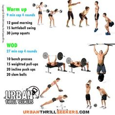 12 good morning, 15 kettlebell swing, 30 jump squats, 10 bench presses, 15 weighted pull-ups, 20 incline push ups, 20 slam balls,