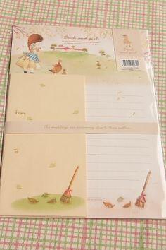 Kawaii Letter Set - Duck and Girl