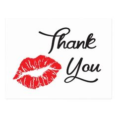 Shop Red Lipstick Kiss Thank You Postcard created by LoveandSerenity.
