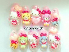Hello Kitty and Friends 3D nails by ohimenail on Etsy, $30.00