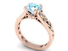 Wedding Rings, Diamond Engagement Ring, Rose Gold Rings For Her, Filigree And Vine Pattern Rings, Diamond Alternative Engagement Ring