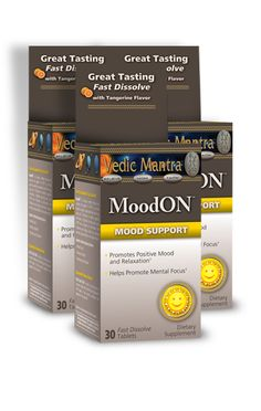 MoodON™   Mood Support is a unique formulation that offers drug-free Mood Support with 5-HTP and promotes mental focus. It offers a unique Fast Dissolve Technology perfect for an active on the go lifestyle. Each tablet has a great-tasting Tangerine flavor.  (Fast Dissolves - No water needed)