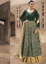 Bridal Wear Bhagalpuri Silk Green Antique Work Straight Suit