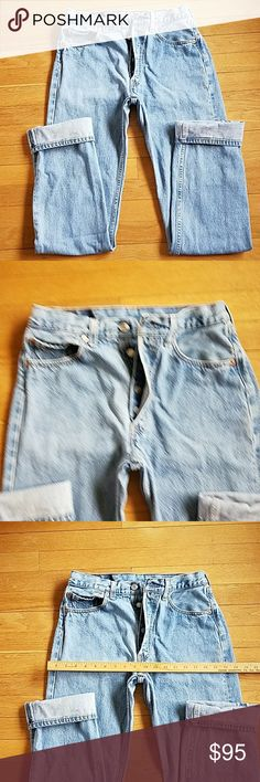 """Levi's 501 vintage USA♥buttonfly jeans Labeled 31×36...these hand measure at a waist of a little over 28"""", inseam of about 34"""", rise 10.75"""", I list them by their actual hand measurement due to vintage sizing and shrinkage, 100% cotton, made in the USA, check out my closet for more vintage jeans listings...over 100 pieces in my closet Levi's Jeans"""