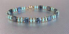 Picasso tile bracelet, beaded teal bracelet birthday gift for her, bracelet for women, superduo bracelet, boho bracelet - Bijoux - Seed Bead Bracelets, Seed Bead Jewelry, Beaded Jewelry, Jewelry Bracelets, Handmade Jewelry, Seed Beads, Diamond Bracelets, Jewellery, Ankle Bracelets