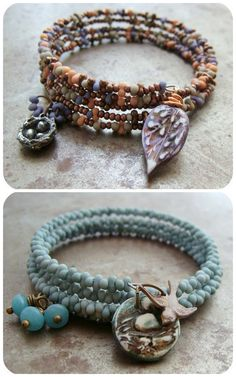 DIY Easy Memory Wire and Charms Bracelet Tutorial from Art Bead Scene here. Excellent tutorial. It's all in picking the right bead and color combinations. At Michaels they often have 40% of their strung gallery beads that come in every shape, size...