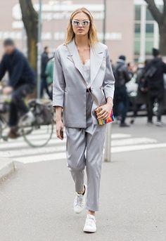 Romee Strijd wearing a silk suit at Milan Fashion Week | ASOS Fashion & Beauty Feed