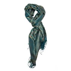 Teal Blue Jamavar Silk Scarf