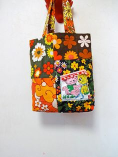 Vintage Retro Flower Yellow Orange Patchwork Tote by ApricotCircus