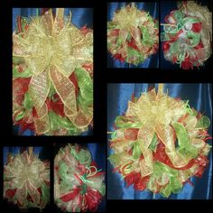 Beautiful red and green mesh Christmas Wreath. With gorgeous gold bow.   Red and green mesh tubing.   10 inch gold mesh accents.