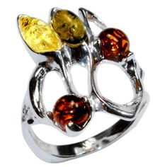 4-4g-Authentic-Baltic-Amber-925-Sterling-Silver-Ring-Jewelry-s-6-5-A7274S65