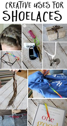 Clever ways to use old shoelaces! Plus some fun ways to use cute, new shoelaces :-)