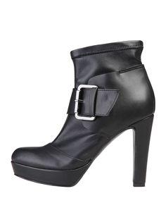Versace 1969 abbigliamento sportivo srl milano italia - scarpe donna  - 100% made in italy - stivaletti con fibbia, in s - Stivaletto donna carine Nero
