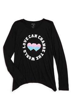 4541a422 Flowers by Zoe 'Love Can Change the World' Graphic Long Sleeve Tee (Big