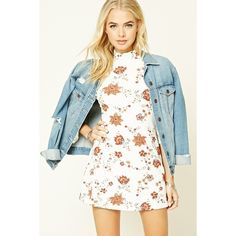 Forever21 Floral Print Mock Neck Dress (150 GTQ) ❤ liked on Polyvore featuring dresses, 3/4 length sleeve dresses, short sleeve dress, long-sleeve mini dress, white 3/4 sleeve dress and forever 21 dresses