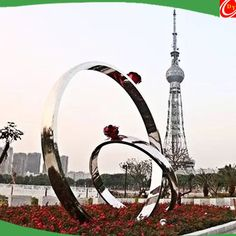 Top Grade Polish Stainless Steel Love Ring Sculpture for Park Decoration