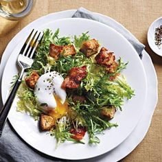 French Frisée Salad with Bacon and Poached Eggs | CookingLight.com