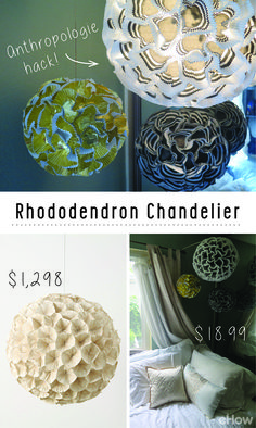 Upcycle a cheap round paper lantern into an Anthropology knock-off with cupcake liners! DIY your own version of their trendy and chic Rhododendron chandelier for less than $20! Seriously cute and easy to make on your own (in just a few hours!) . Get the step by step DIY here: www.ehow.com/how_12340498_diy-rhododendron-chandelier.html?utm_source=pinterest.com&utm_medium=referral&utm_content=inline&utm_campaign=fanpage