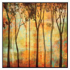 Art.com - Magical Forest I Mounted Print, Orange