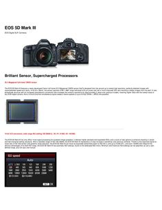 Canon 5D MKIII  Specs and info on the new Canon 5D MKIII