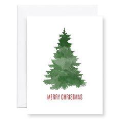 watercolor christmas tree, watercolor evergreen, watercolor Christmas card | Megan Mayo Design
