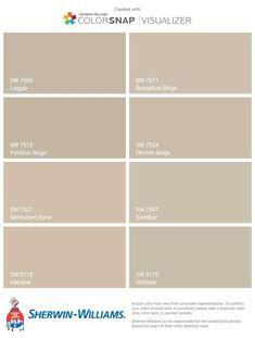 Sherwin Williams Beige and Greige: Loggia, Bungalow Beige, Pavilion Beige, Dhurrie Beige, Nantucket Dune, Sandbar, Malabar, and Shiitake Exterior Paint Colors For House, Interior Paint Colors, Paint Colors For Living Room, Paint Colors For Home, Nantucket, Brown Paint Colors, Greige Paint, Bungalow, Beige Living Rooms