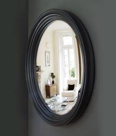 Large Lucca Convex Mirror in waxed black finish Small Round Mirrors, Convex Mirror, Mirror With Lights, Lucca, Light Up, Unique, Interior, Room, Black