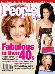 photo   Beauty, Fabulous Over Forty, Rene Russo Cover, Andie MacDowell, Kim Basinger, Mel Gibson, Michelle Pfeiffer, Pierce Brosnan, Rene R...