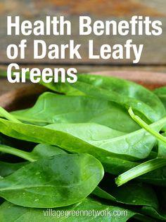Health benefits of dark leafy greens / http://villagegreennetwork.com/health-benfits-dark-leafy-greens/