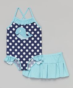 This Navy Whale One-Piece & Swim Skirt - Infant, Toddler & Girls by Baby Buns is perfect! #zulilyfinds
