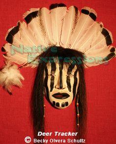 Native American Mask, Deer Tracker.  Clay/mixed media.