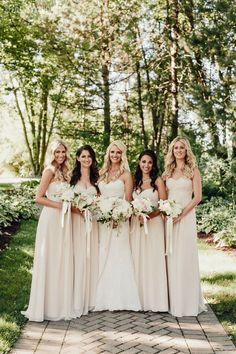 Ivory and cream bridesmaids dresses from Bill Levkoff! VINTAGE PINK & IVORY OUTDOOR WEDDING www.elegantwedding.ca