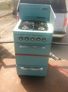 RV Stove Vintage Glamping Camping Trailer Propane Oven Turquoise | eBay