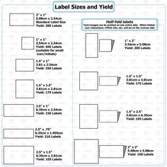 Various label sizes/layouts with label yield. These options are available for listings for 5 sheets uncut labels/200 cut labels. The number of labels you get in an order depends on the size...