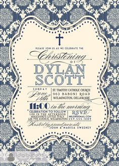 Damask Baptism Invitation Baby Boy Navy Blue by digibuddhaPaperie. I love the combination of fonts.
