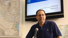 Prof. Leonard Saxe presents his new report 'Antisemitism and the College Campus: Perceptions and Realities' in Jerusalem on July 28, 2015. (Amanda Borschel-Dan/The Times of Israel)