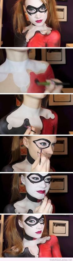Red, black and white makeup for Halloween