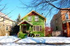 Bright Green House in Chicago, IL
